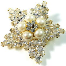 USA BROOCH using Swarovski Crystal PIN Wedding Bridal Flower White PEARL gold