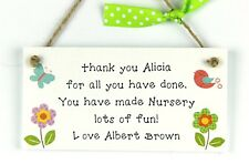 Thank You Nursery Teacher Gift Personalised plaque Childminder Preschool Leaving