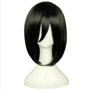 New attack giant Sanika Ackerman cosplay wig short black anime cosplay wig
