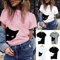 Women Ladies Cat Printed Short Sleeve T Shirt Tops Summer Loose Casual Top Tee