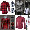 New Men's Long Sleeve Casual Smart Cotton Work Flannel Plaid Shirt Top Hoodie