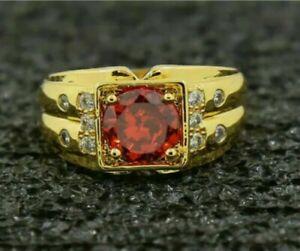 3.00Ct Round Cut Red Garnet Diamond Engagement Men's Ring 14K Yellow Gold Finish