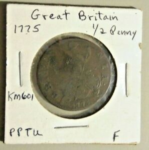 1775 Great Britain  Half 1/2 Penny Copper Coin KM# 601 fine