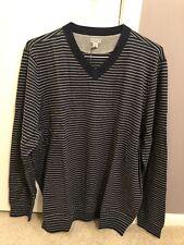 Ashworth Golf Men's Stripe V-Neck Sweater (Navy Heather, Xl)
