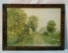 Vtg wood Framed Picture Print Watermill Country Dirt Road Wagon Green Yellow