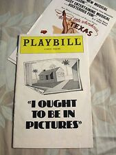 Playbill I Ought To Be In Pictures Bill Macy Neil Simon's Forrest Theatre Phila