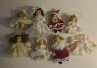 Miniature Porcelain Doll Lot Christmas Southern Belle 7 Dolls with Extra Dress