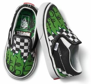 Vans Toddler X Marvel Incredible Hulk Checkerboard Slip-On Shoes (Toddler 4)