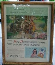 1940's Print Ad CAMELS Costlier TOBACCOS The DOCTOR Makes His ROUNDS Framed