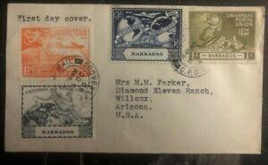 1946 Barbados First Day Cover FDC Universal Postal Union UPU To USA