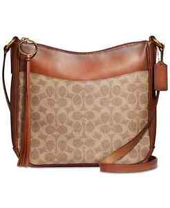 Coach 38579 Coated Canvas Signature Chaise Crossbody in Tan Rush
