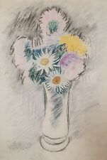 Antique modernist still life with flowers pastel painting