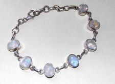 Rainbow Moonstone Bracelet Anklet Oval 925 Sterling Silver Intuition Purple