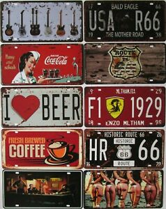 Tin Sign License Plate Garage Bar Cave 66 Guitar Coke Beer Elvis Coffee Novelty