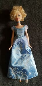 2011 Mattel Disney Cinderella Blonde Barbie Doll Blue White Swirls Dress 12""