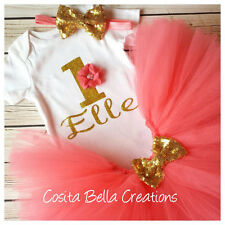 first birthday outfit , Gold One Onesie, Coral And Gold Onesie, Handmade