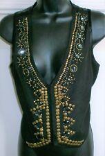 Topshop VINTAGE Women's BLACK JEWELLED RHINESTONES STUDDED Waistcoat Size 8 UK
