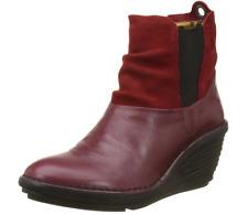 Fly London SULA  Cordoba RED Womens Boots Heel Wedge US 6.5-7 EU 37