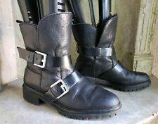 ZARA WOMAN black leather ankle motorcycle biker fur lined booties boots  39 US 8