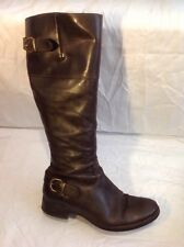 Ladies Brown Knee High Leather Boots Size 39