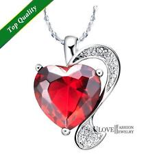Limited Edition Red Heart Crystal Pendant Sterling Silver Romantic,  Prom gift