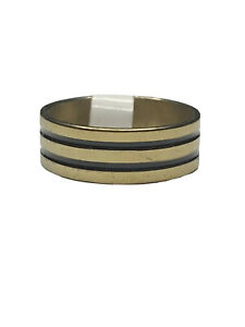 Stainless Steel Gold with Black Stripes Fashion Ring size 9.5 New with tags
