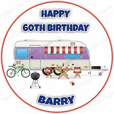 Personalised Camping Caravan Camp Camper Holiday Edible Icing Party Cake Topper