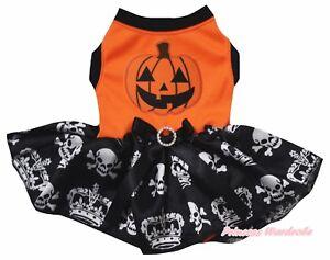 Pumpkin Halloween Orange Top Crown Skull Tutu Pet Cat Dog Dress Puppy Clothes