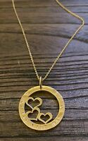 Hand Stamped Hearts Circle Design 32mm Gold Necklace A Mothers Love has no end.