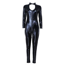 Women Catsuit Patent Leather Jumpsuit Bodysuit Clubwear Lingerie with G-string