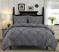 PINTUCK DUVET COVER 100% COTTON PLEATED QUILT BED SET DOUBLE KING SILVER GREY