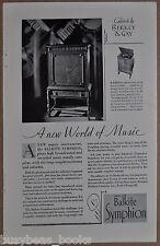 1928 BALKITE SYMPHION advertisement, radio phonograph, Fansteel, Berkey & Gay