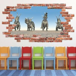 Triceratops Red Brick 3D Hole In The Wall Sticker WS-67626