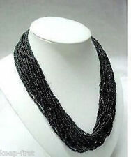 Genuine popular 2-3mm Natural Black Multi Strand Tibet Coral Seed  Bead Necklace