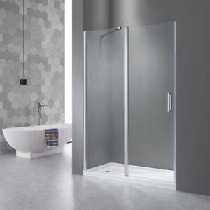 Nischen Drehtür Schwingtür mit Seitenwand 120 cm Duschwand Duschabtrennung Nano