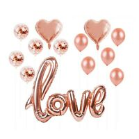 13pc Love Balloons Foil & Confetti Party Decor - Wedding, Engagement - Rose Gold
