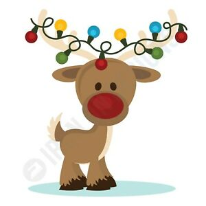 CHRISTMAS REINDEER WITH LIGHTS - IRON ON TSHIRT TRANSFERS - A6 A5 A4