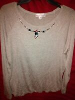 Rebecca Malone Top Blouse Med Long Sleeve gray Round Neck Beaded Detail