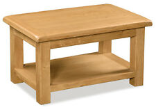 Zelah Oak Small Coffee Table with Shelf / Chunky Waxed Oak Coffee Table / New