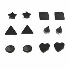 12pcs Magnetic Black Shape Fake Plug Kit Illusion Cheater No Piercing Needed Art