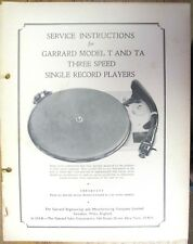 SERVICE MANUAL FOR GARRARD MODEL T & TA TURNTABLE - PHOTO COPY 24 PAGES  INFO