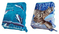 2 Ply Blanket Wolf Dolphins Blue Reversible Queen Size Plush Soft Mink NEW