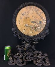 Museum Quality Antique 18th Century Chinese Silk Embroidery & Robe Wood Mirror