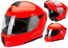 CASCO MOTO MODULARE APRIBILE SCORPION EXO 920 SOLID ROSSO FLUO RED NEON TG S