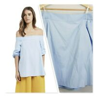 [ SEED HERITAGE ] Womens Chambray Off shoulder Top | Size AU 12 or US 8