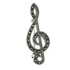 925 STERLING SILVER MARCASITE TREBLE CLEF MUSIC  BROOCH PIN