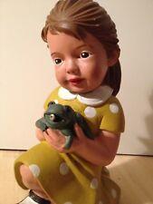 Mädchen mit Frosch 40 cm Figur Gartenzwerg Style Froschkönig Puppe vintage 70er