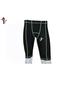 Men's Compression SHORTS Fitness Wear Cycling,Yoga Gym LARGE Green Lines