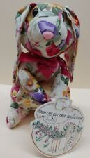"Country Cottage Collection 8"" Bunny Rabbit Floral Fabric Shelf Tuck Sitter 1980s"