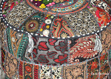Pretty Indian Black Pouf Cover Stool Vintage Patchwork Living Room Ottoman Cover